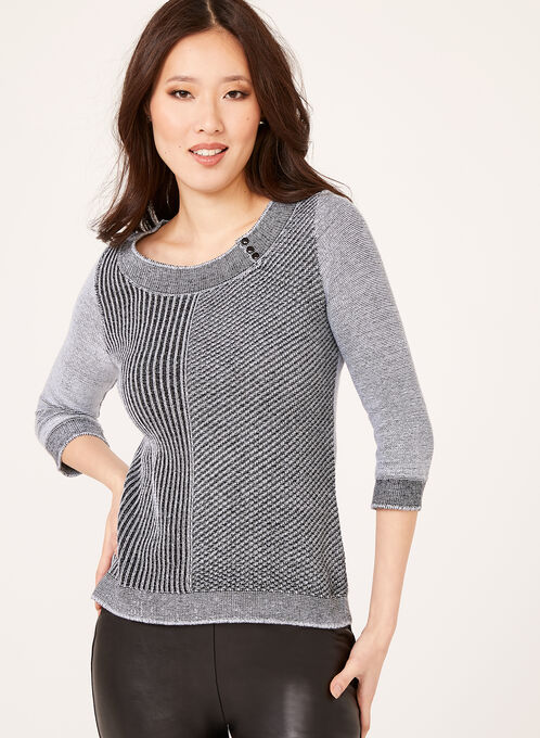 3/4 Sleeve Scoop Neck Sweater, Black, hi-res