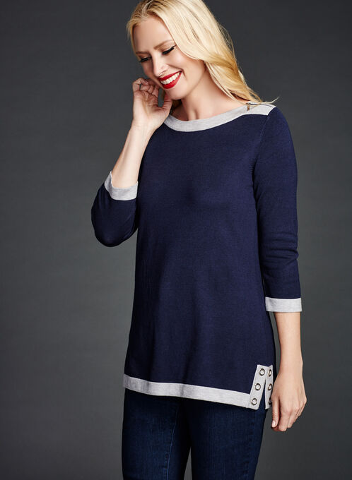 3/4 Sleeve Zipper Trim Knit Tunic Sweater, Blue, hi-res