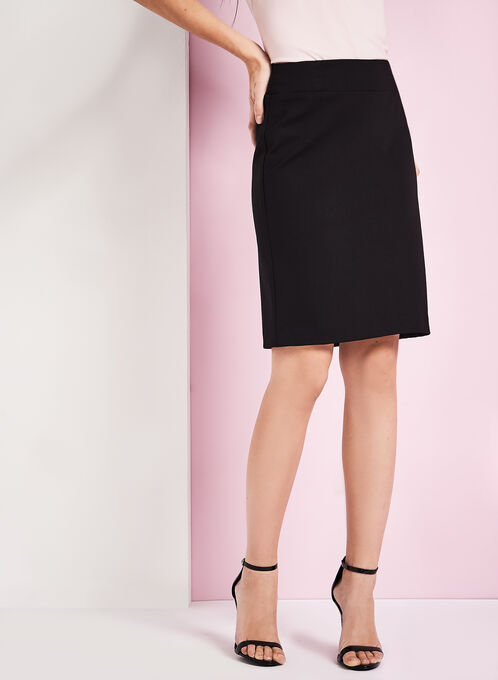 Ponte Tummy Control Pencil Skirt, Black, hi-res