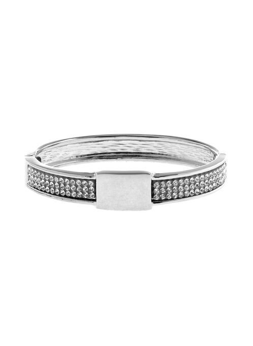 Crystal Insert Hinge Bangle, Silver, hi-res