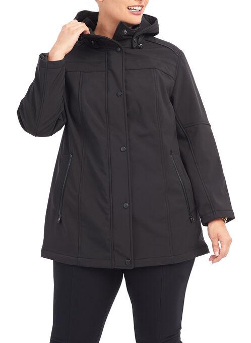 Softshell Detachable Hood Jacket, Black, hi-res