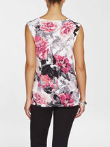 Floral Print Pleated Sleeveless Top, Orange, hi-res