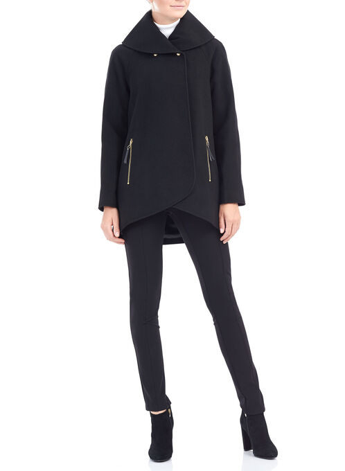 Wool-Like Shawl Collar Jacket , Black, hi-res