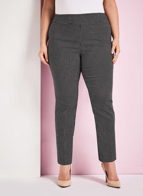 Graphic Print 7/8 Pants, Black, hi-res