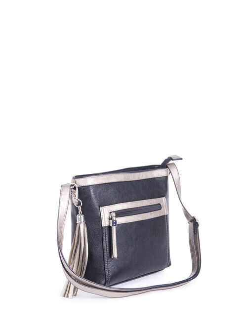 Faux Leather Crossbody Purse, Black, hi-res