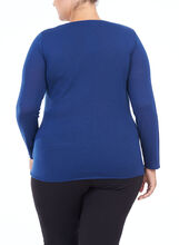 Long Sleeve Drape Neck Sweater, Blue, hi-res