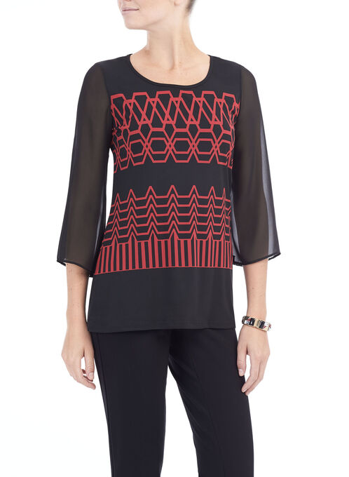 3/4 Sleeve Printed Tunic Top, Black, hi-res
