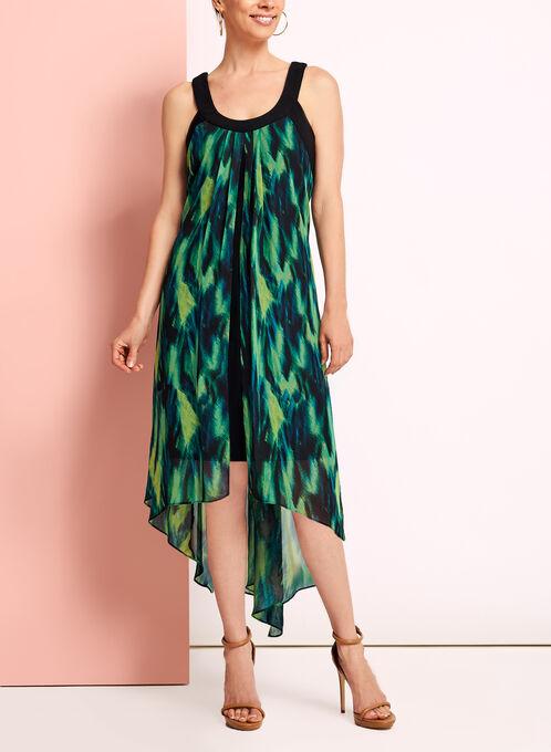 Watercolour Print High-Low Dress, Green, hi-res