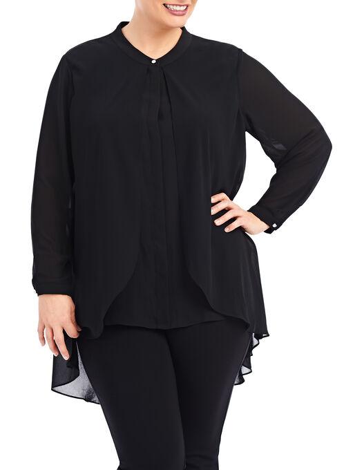 Long Sleeve Shirttail Tunic Blouse, Black, hi-res