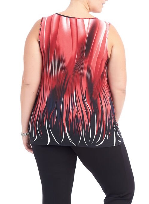 Sleeveless Abstract Print Top, Red, hi-res