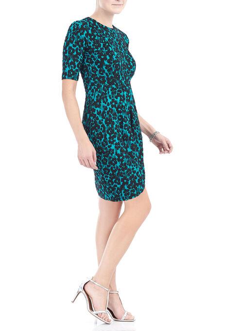 3/4 Sleeve Animal Print Knit Dress, Blue, hi-res