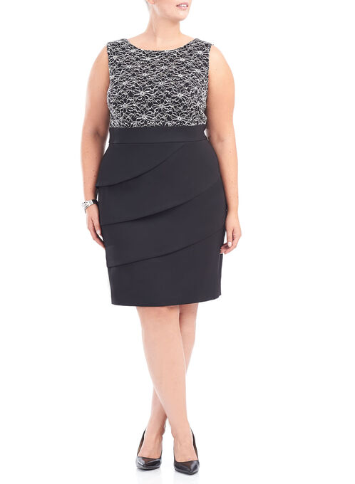 Sleeveless Sequined Lace Dress, Black, hi-res