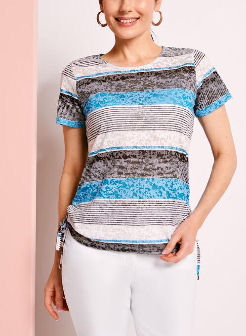 Side Tie Stripe Print T-Shirt, Black, hi-res