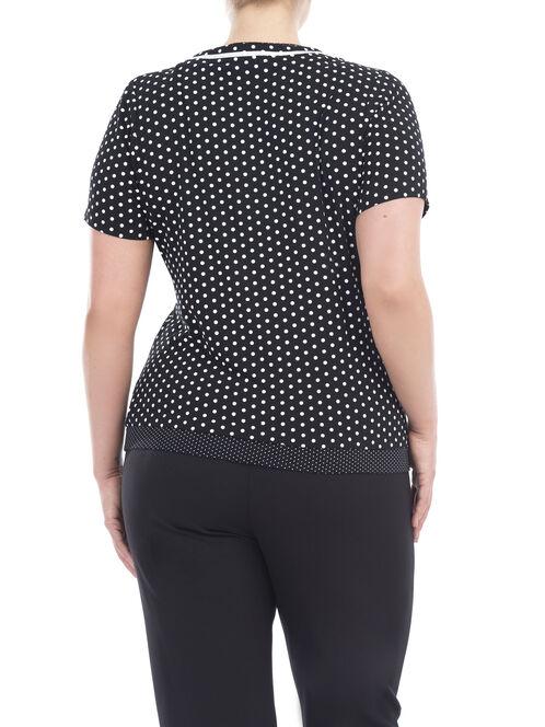 Lace-Up Polka Dot T-Shirt, Black, hi-res