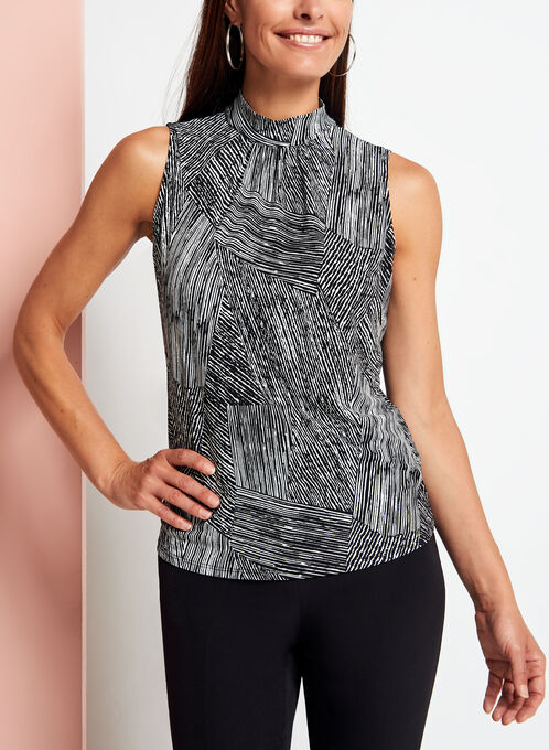 Graphic Print Mock Neck Top, Black, hi-res