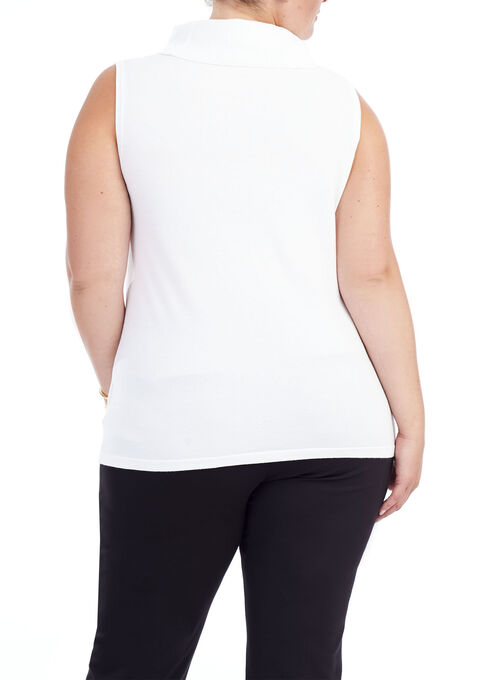 Sleeveless Turtleneck Knit Top , Off White, hi-res