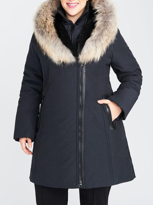 Raccoon Fur-Trim Asymmetric Shawl Collar Coat, Black, hi-res
