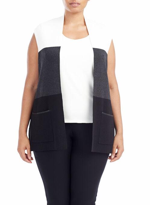Colour Block Double Knit Vest, Grey, hi-res