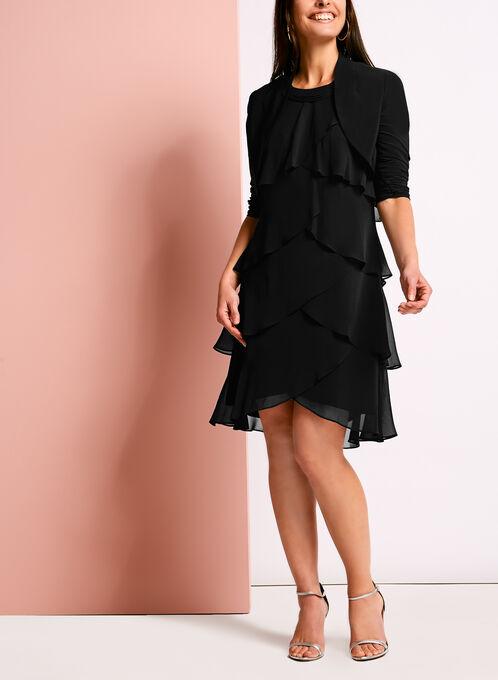 3/4 Sleeve Shirred Bolero, Black, hi-res