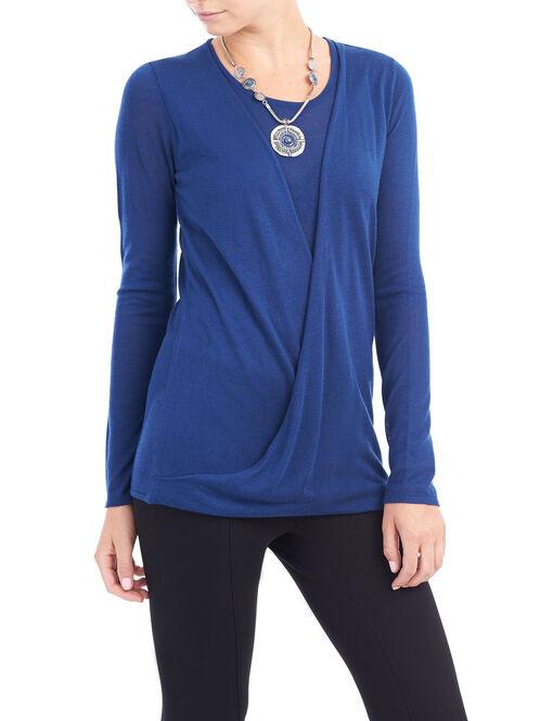 Scoop Neck Twist Detail Sweater, Blue, hi-res