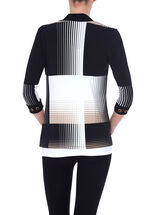 3/4 Sleeve Grid Print Cover-Up, Black, hi-res