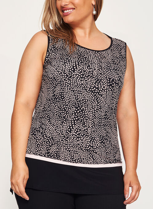 Leaf Print Sleeveless Jersey Top, Black, hi-res