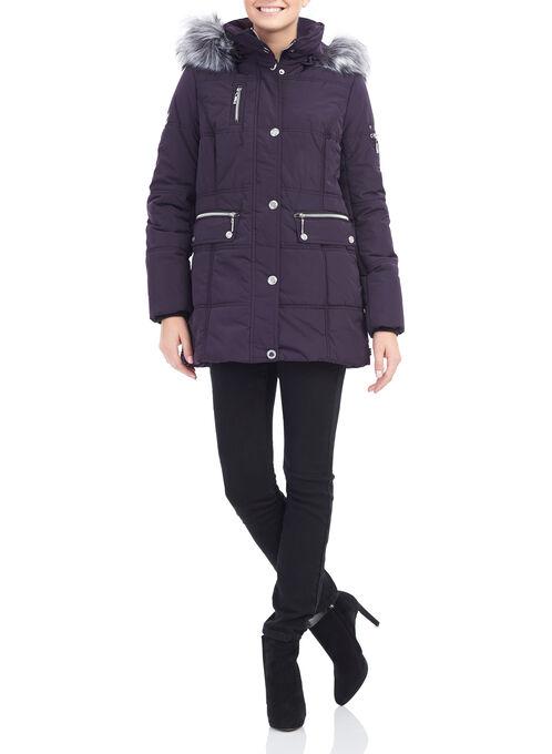 Novelti Faux Fur Polyfill Coat, Purple, hi-res