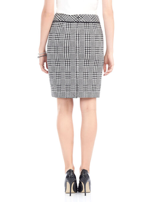 Short Houndstooth Pencil Skirt, Black, hi-res