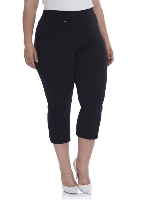 Straight Leg Capri Pants, Black, hi-res