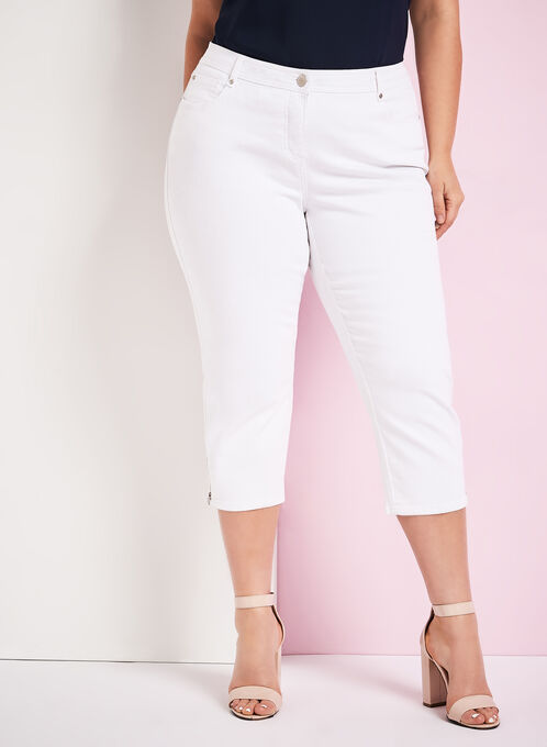 Zipper Trim Denim Capris, White, hi-res