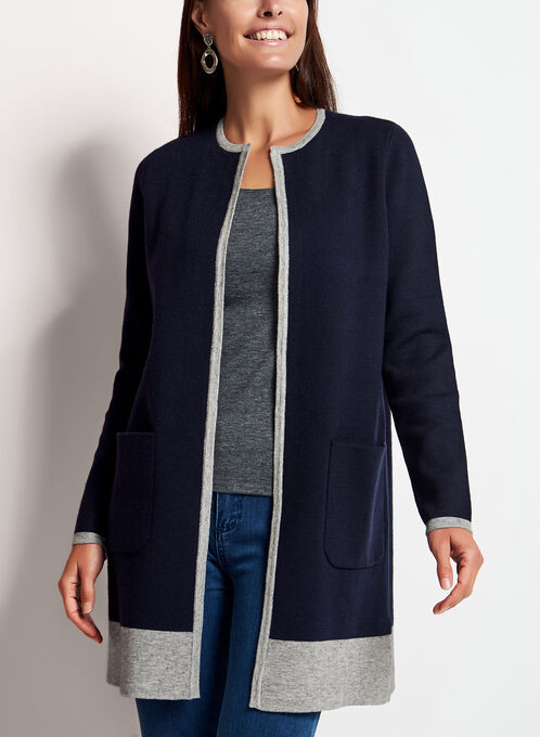 Contrast Double Knit Cardigan, Blue, hi-res