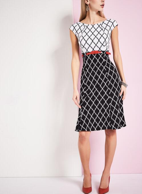 Jersey Belted Diamond Print Dress, Black, hi-res