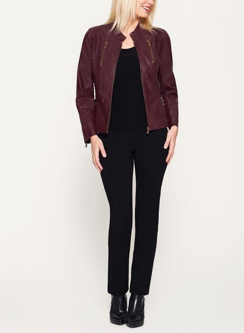 Faux Leather Zipper Trim Jacket, Red, hi-res