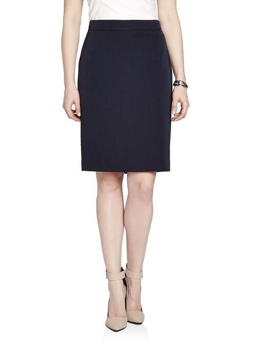 Stitched Waist Pencil Skirt, Blue, hi-res