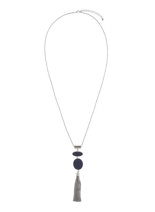 Two-Tone Tiered Tassel Necklace, Blue, hi-res