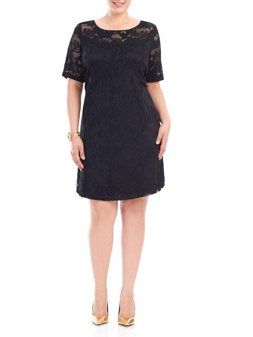 Lace Elbow Sleeve Dress, Black, hi-res