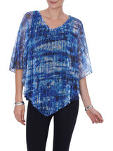 3/4 Sleeve Crochet Poncho Top, Blue, hi-res