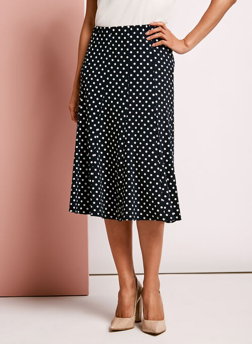 Dot Print A-Line Skirt, Blue, hi-res
