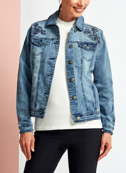 Floral Embroidered Washed Denim Jacket, Blue, hi-res