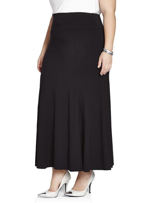 Jersey Flared Maxi Skirt, Black, hi-res