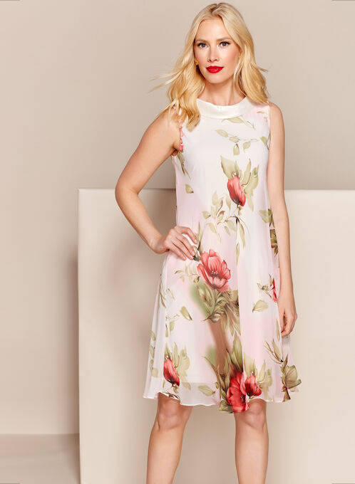 Floral Reverse Collar Trapeze Dress, White, hi-res