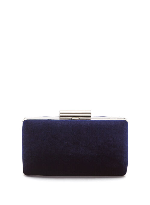 Velvet Box Clutch, Blue, hi-res