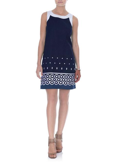 Sleeveless Printed Linen Dress, Blue, hi-res