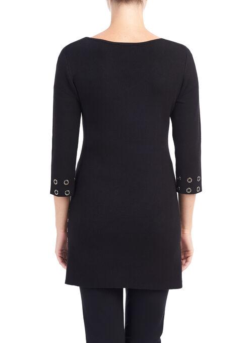 Grommet Trim Tunic Sweater, Black, hi-res