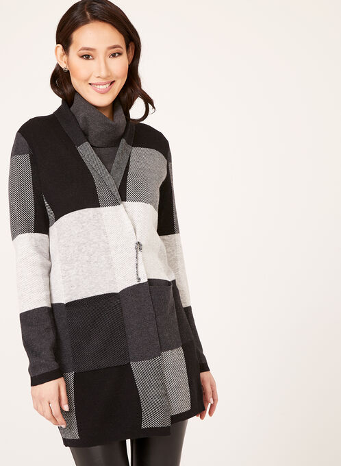 Checkered Double Knit Shawl Cardigan, Black, hi-res