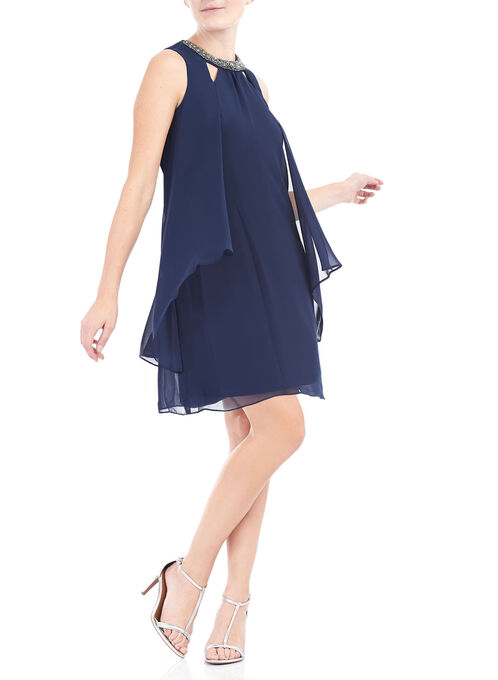 Sleeveless Chiffon Beaded Trim Dress, Blue, hi-res