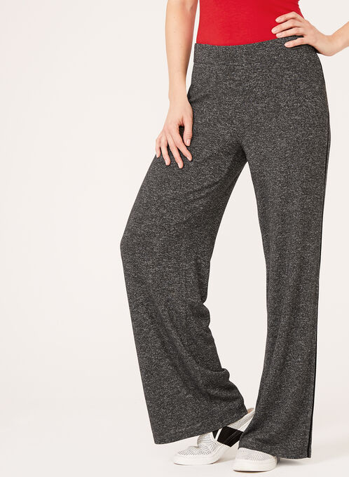 Wide Leg Melange Knit Pants, Grey, hi-res
