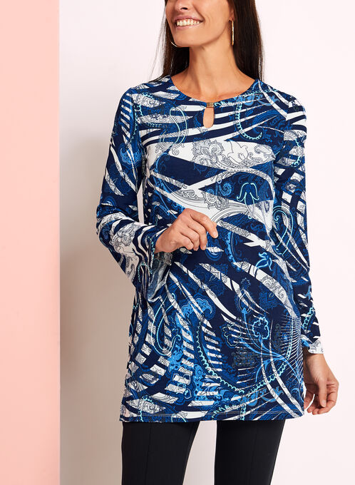 Linea Domani 3/4 Sleeve Tunic Top, Blue, hi-res
