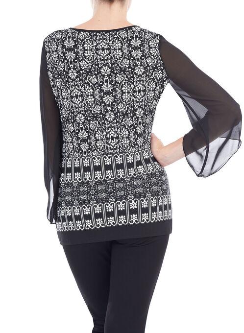 3/4 Sleeve Printed Tunic Top, Black, hi-res