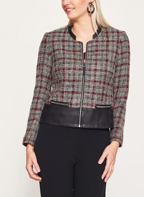 Vex - Bouclé Plaid & Faux Leather Trim Jacket, Grey, hi-res
